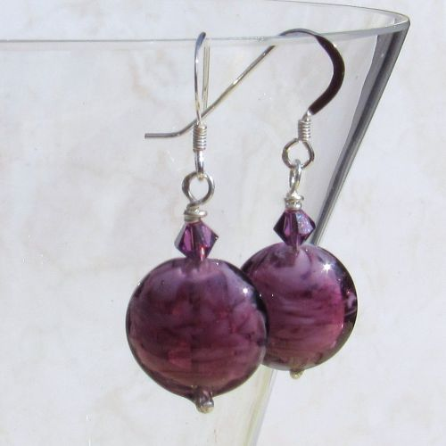 Amethyst 14mm Oval Murano Earrings - MGE1nl