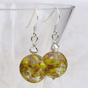 Yellow 14mm Oval Murano Earrings - MGE2SomDH