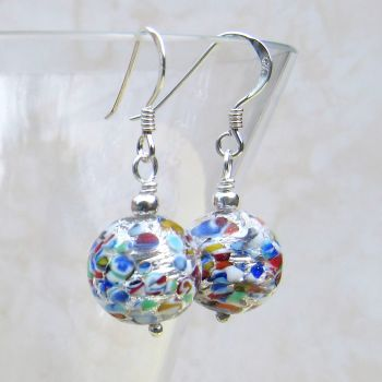 Multicolour Sterling Silver Murano Earrings - MGER15