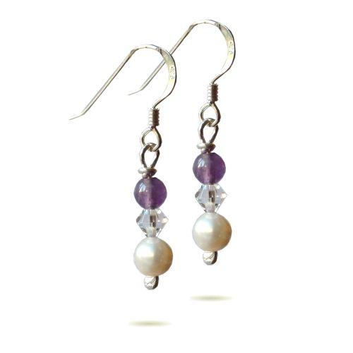 Silver Pearl, Swarovski, Amethyst Earrings - BCE16