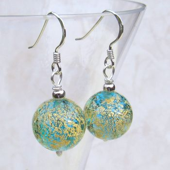 Aqua Blue and Gold Splash Round Drops