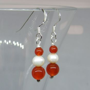 Red Agate and Pearl Drops - BCE17H