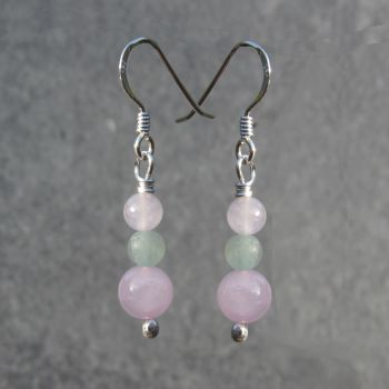 Rose Quartz and Aventurine Earrings - GSE1