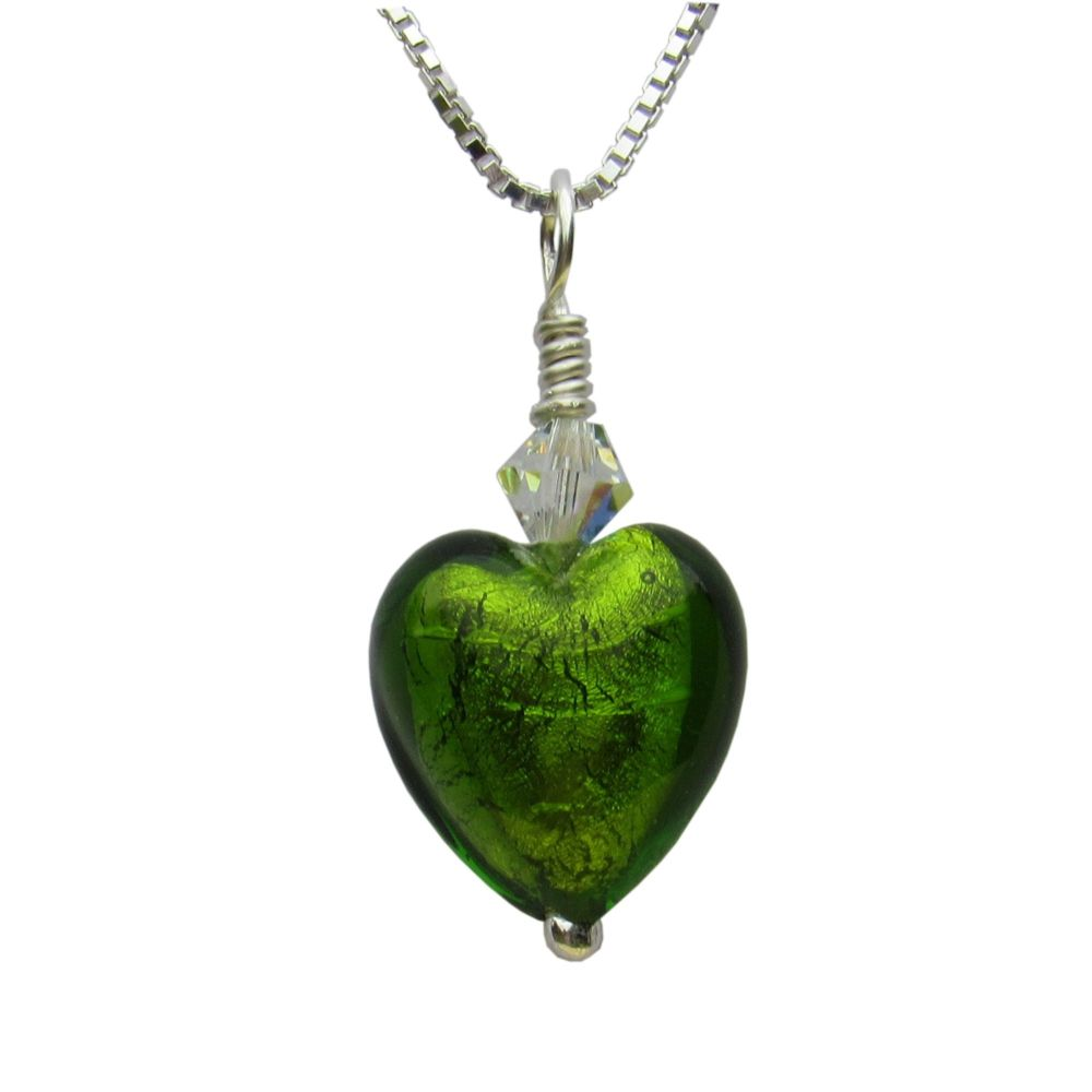 Light Emerald White Gold Foil Pendant - MGPA3le