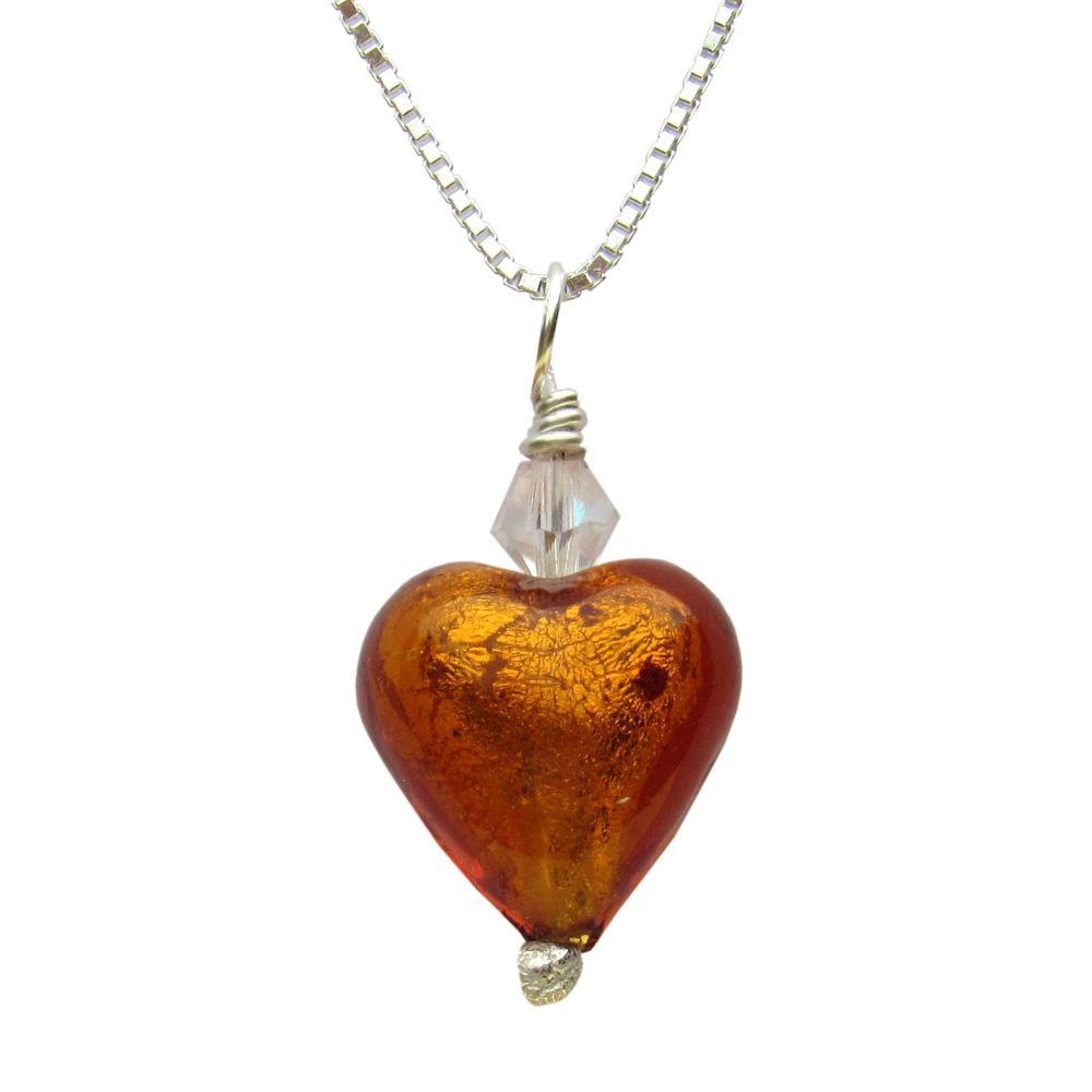 Yellow Heart Murano Necklace - MGPA2