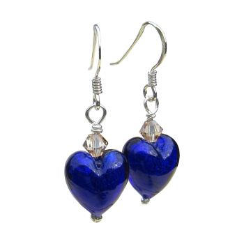 Dark Blue, Swarovski Crystal White Gold Foil Earrings - MGE10A