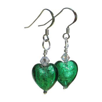 12mm Emerald Murano Hearts - MGE3