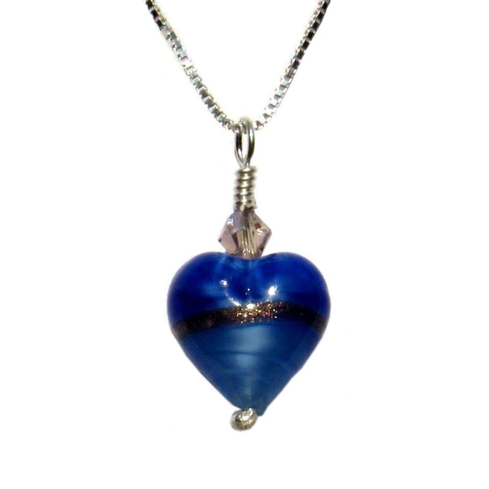 Provence Blue Gold Murano Pendant - MGPA10PB
