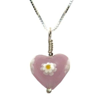 Pink Daisy Murano Heart Pendant - MGPA9d