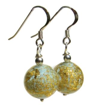 Silver, Murano Blue and Gold Celeste Round Drops - MGER10CoD