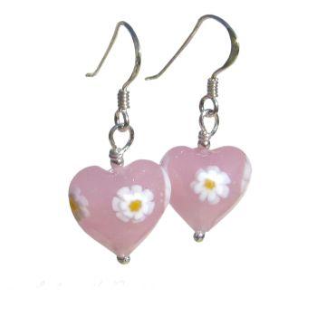 Pink Daisy Murano Glass Earrings - MGE9d