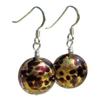 24ct Gold Foil Murano Disc Earrings - MGE15al