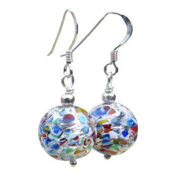 Multicolour Sterling Silver Murano Earrings - MGER15