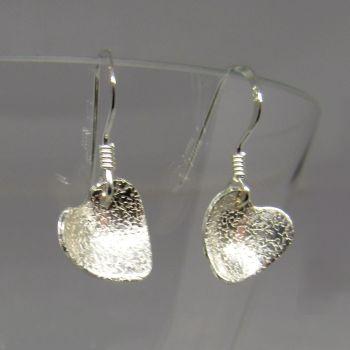 Silver Heart Drop Earrings - JTAE14