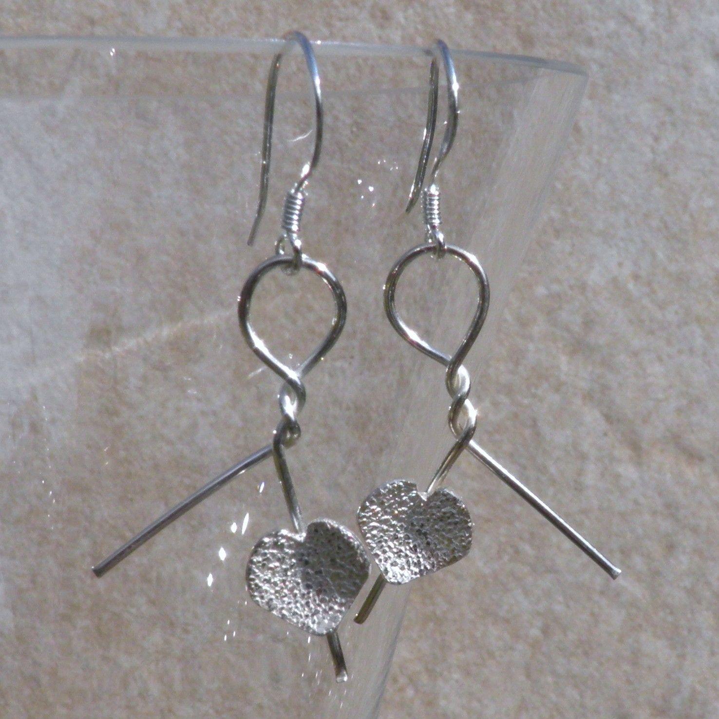 Silver Heart Earrings - Twists - JTAE4