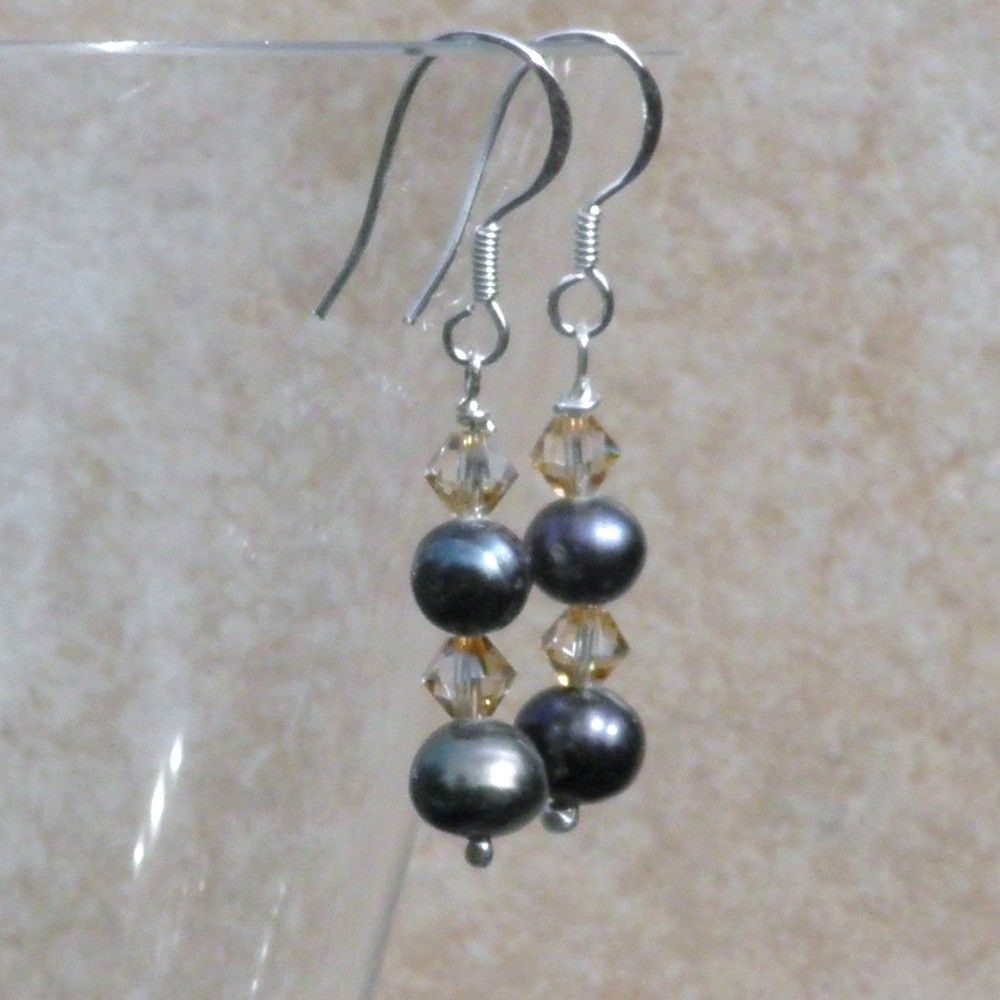 Pearls Drop Earrings with Silver and Swarovski - CCE8