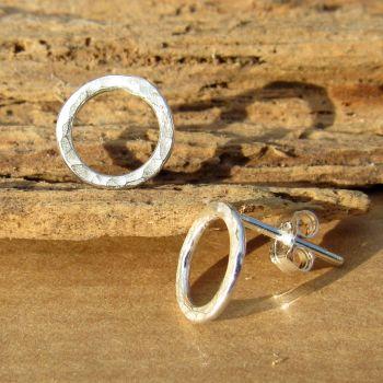 Hammered Circle Earrings - SWCE8AH