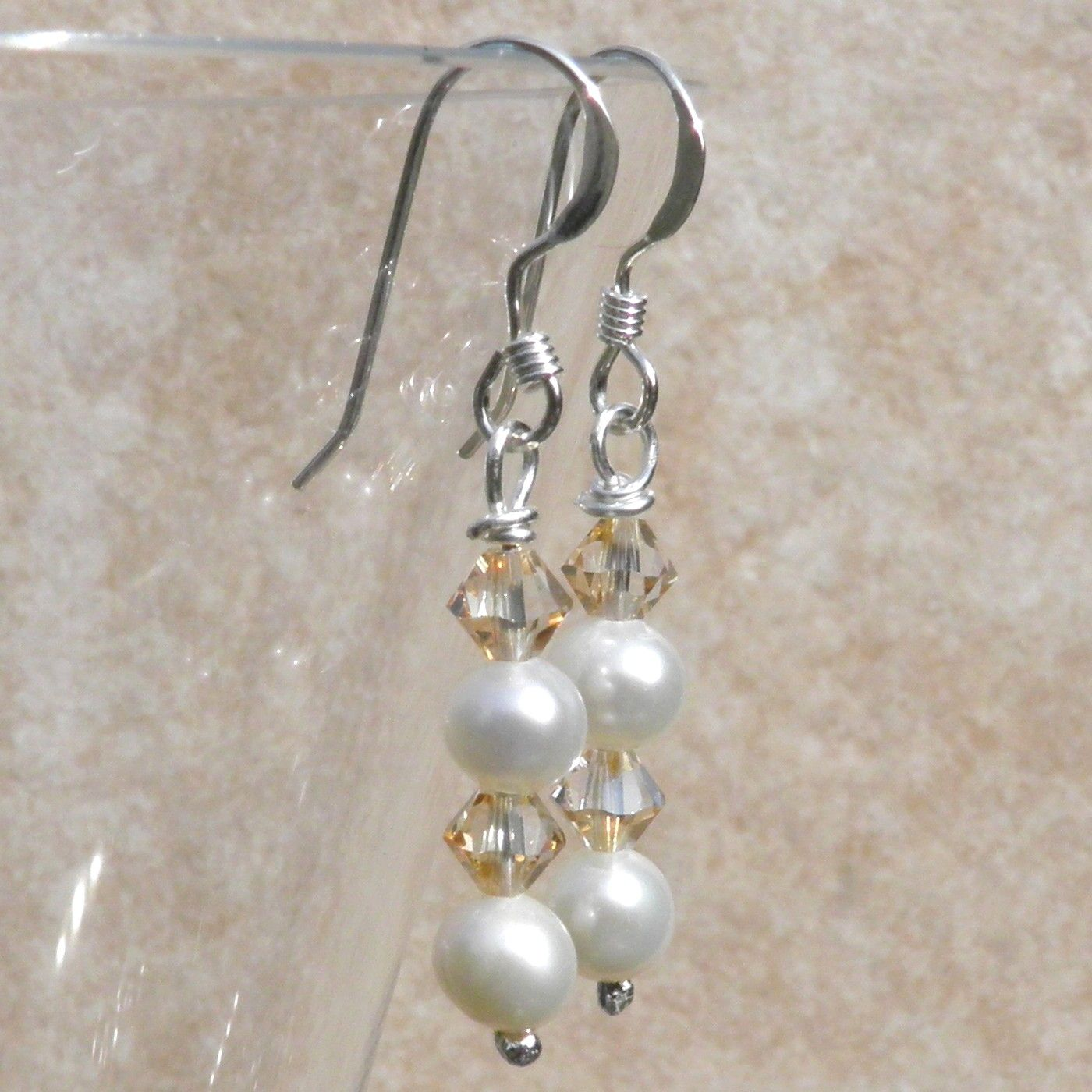 Pearl Earrings Cream and Swarovski Crystal - CCE2