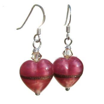 Rose Ruby Gold Heart Earrings - MGE9RR
