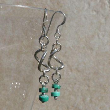 Silver Turquoise Earrings Twists - GCE10