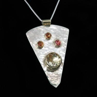Silver, Gold, Sapphire Pendant