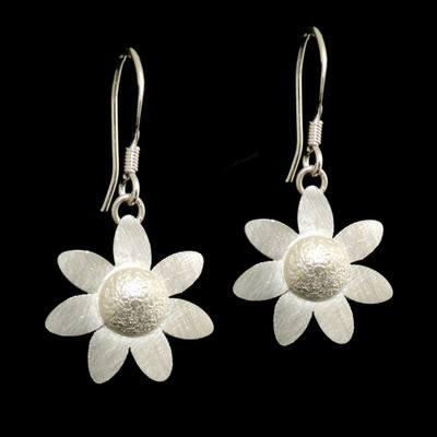 "Silver Daisy Earrings ""He Loves Me...""  - JTAE6"