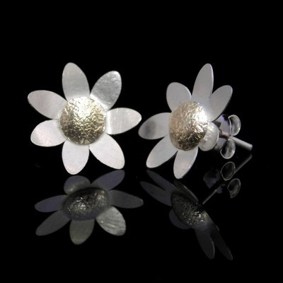 Daisy Studs with Gold