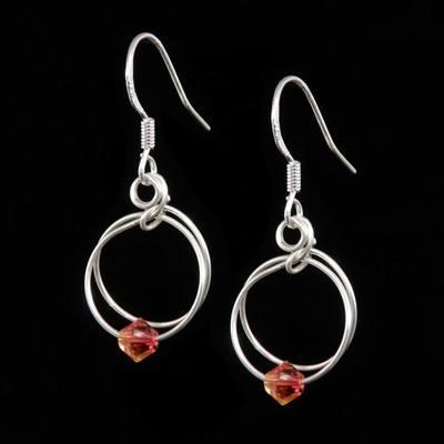 Fire Opal Earrings - October Birthstone - SWCE15K