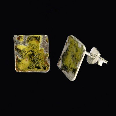 Enamelled Square Stud Earrings