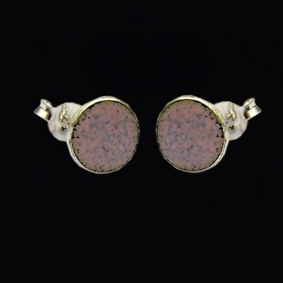 Enamelled Round Stud Earrings