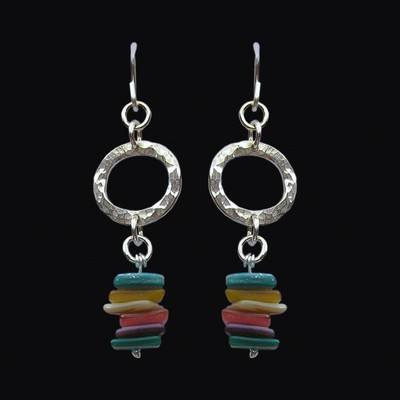 Hammered Circles and Shell Earrings