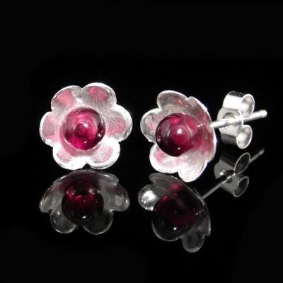 Garnet Flower Earrings High Quality-GCE25