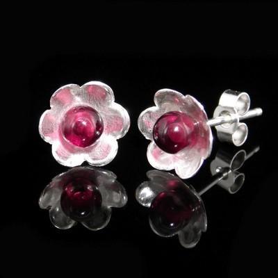 Garnet Flower Earrings High Quality - GCE25