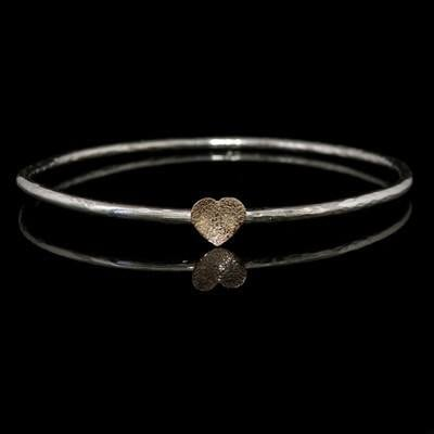 9ct Gold Heart and Silver Bangle - JTAB3