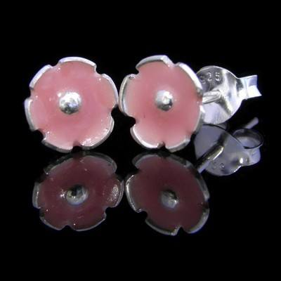 Pink Blossoms Silver Flower Earrings - GCE8