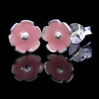 Pink Blossoms Silver Flower Earrings - GCE8