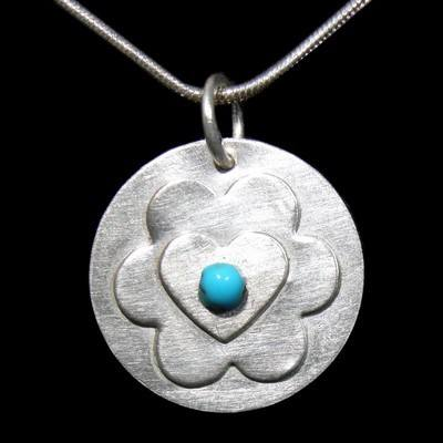 Turquoise Heart Pendant with Flower - JTAP14