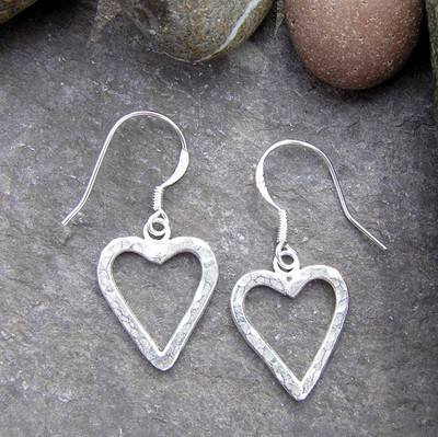 Silver Heart Earrings - JTAE7