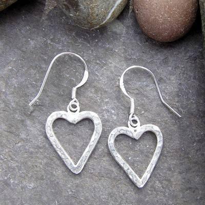 Silver Heart Earrings - JTAE7
