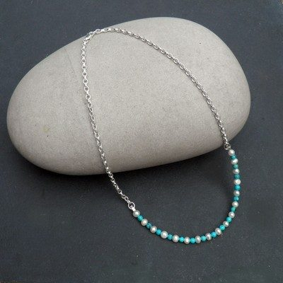 Silver Turquoise and Pearl Necklace - BCN2