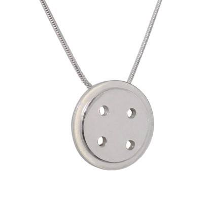 Large Button Pendant in Silver  - BCP3