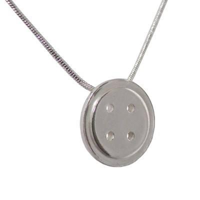 Silver Button Pendant - BCP2