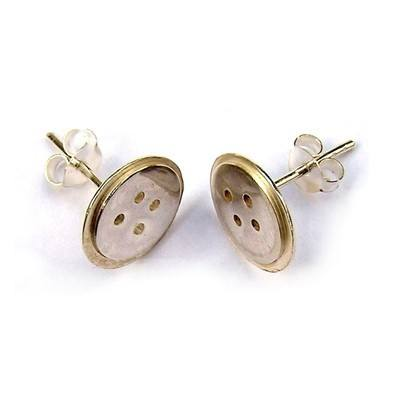 Silver Button Earrings - BCE3