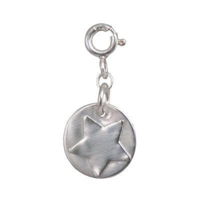 Silver Star Disc Charm - BCC8