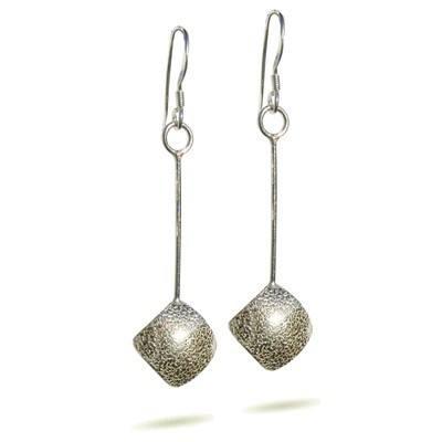 Handmade Silver Square Earrings - DDE15