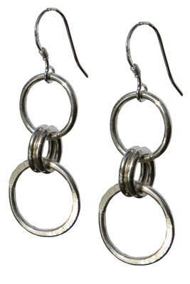 Silver Circle & Oval Earrings