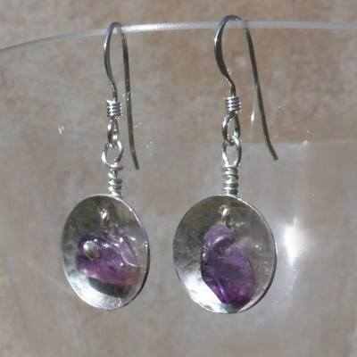 Dionysis Amethyst Discs Earrings  - BCE8