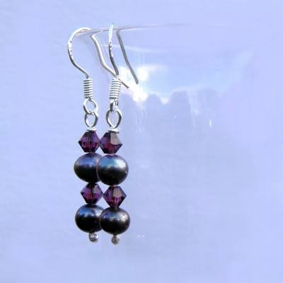 Silver Drop Pearl Earrings and Swarovski Crystal - CCE3