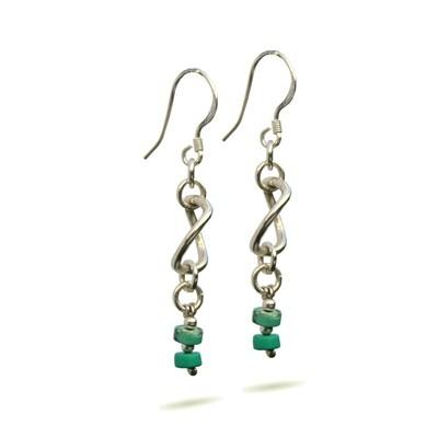 Silver Turquoise Earrings -Turquoise Twists - GCE10