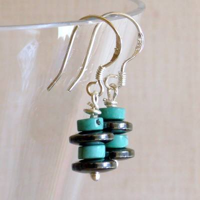 Turquoise and Haematite Earrings - GCE1